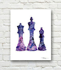 Chess Pieces Abstract Watercolor Painting Art Print by Artist DJ Rogers