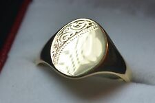 Brand New 9ct Gold Gents signet ring half engraved size U Mans Mens Xmas gift