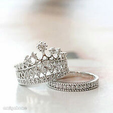 2PCS Fairy-style Party Cute Rhinestone Imperial Crown-shaped Chic Ring Silver x