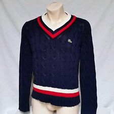 VTG Izod Lacoste Cable Knit V Neck Sweater 80's Acrylic Cardigan Tennis Large