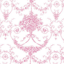 """Cotton 100% Satin Weave Fabric Bedding Covering Antique Dandy Damask Rose 44""""w"""