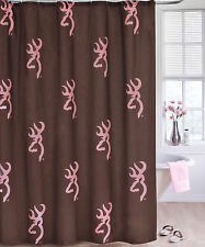 BROWNING BUCKMARK PINK & BROWN SHOWER CURTAIN - BATH ACCESSORY