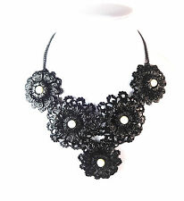 LADIES  BLACK MULTI LAYER FLORAL NECKLACE WHITE PEARL UNIQUE STATEMENT (ST96)