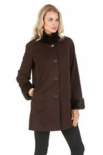 Dark Brown Cashmere Jacket with Mahogany Mink Fur Mandarin Collar and Cuffs