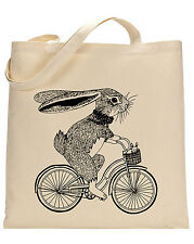 Bunny on Bike cotton tote bag - Book bag, Shopping bag,Reusable and Washable