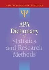 APA Dictionary of Statistics and Research Methods (2013, Hardcover)