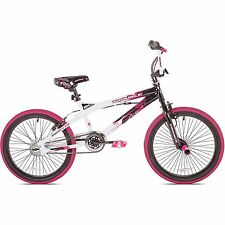 "Girls BMX Freestyle Bike White 20"" Inch Foot Pegs Tricks Stunts Trail Ride New"