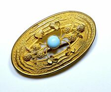 Victorian Clover Flowers and Turquoise Glass Sash Brooch Pin FE17516