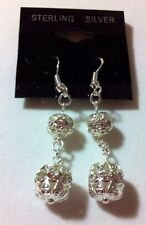 Sterling Silver With Mirror Balls Earrings