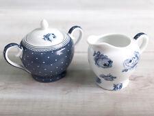 Katie Alice Vintage Indigo Super Blanco Porcelana Azucarera Y Crema Jarra Set