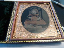 BABY GIRL IN PINK DRESS-1/6 PLATE AMBROTYPE IN CASE