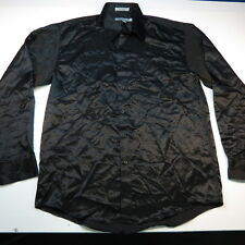 TWIST PLATINUM SHINY SATIN ROCKER ROCK STAR CLUB DRESS SHIRT Sz L 16 16.5 34-35