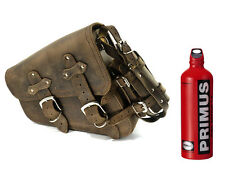 BROWN LEATHER HARLEY DAVIDSON LEFT, SINGLE SADDLE BAG & 1L PRIMUS FUEL BOTTLE