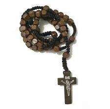 ROSARY BEADS BROWN WOODEN NECKLACE CROSS CRUCIFIX CATHOLIC PRAYER ROSARIES