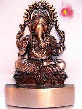 GANESHA GANESH GANPATI HINDU GOD BRASS PLATED STATUE ~FOR WEALTH & PROSPERITY