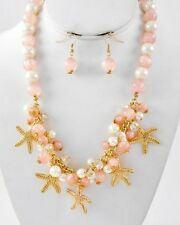 Coastal Gold & Coral Seed Bead STARFISH CLUSTER Necklace & Earrings Set NWT