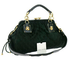 Auth MARK JACOBS Quilted 2way Hand Bag Green Fur Leather Vintage Italy KA03051