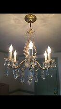 Vintage Maison Bagues Style Brass Crystal Chandelier Leaf Hollywood Regency 50's