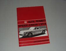 Uso e manutenzione Alfa Romeo Spider junior Duetto 1.3 1.6 use and maintenance
