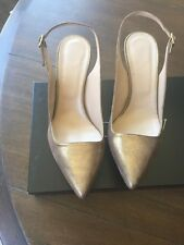 J Crew Metallic Suede Slingback Pumps - size 8 heels - Gold Choclolate