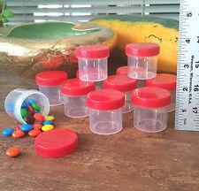 12 Bottles 1OZ Candy Jars Gift Basket Favor Event Party RED CAPS #4305 DecoJars