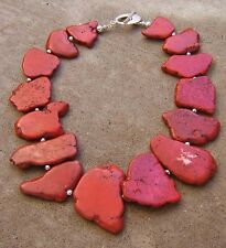 RED TURQUOISe FREEFORM BIG GEMSTONE NECKLACE JEWELRY SILVER DETAIL TOGGLE CLASP