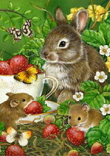 NEW LARGE TOLAND HOUSE FLAG BERRY SWEET BUNNY RABBIT  MICE SPRING SUMMER 28 X 40