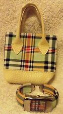 LADIES WOMEN SUISSE PLAID WATCH & MATCHING SMALL PLAID BAG--QUARTZ--VERY NICE!