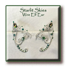 Teal Wire Elf Ears, Sterling Silver Filled Pair with Swarovski Crystals