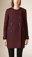 Burberry Brit Women's Red Collarless Wool Blend Coat Size UK10