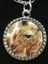 "African Giraffe Baby Charm Tibetan Silver with 18"" Necklace G1 BIN"