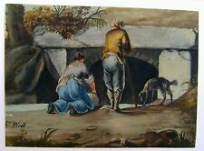 FIGURES AND A DOG BY AN ANCIENT WELL W/COL f.WEBB C1810