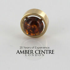 Design Italiano colore cognac Baltico AMBRA Pendente in oro 9 carati-Rrp £ 69.50 GP0043