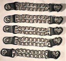 5 HEART LADIES DOUBLE MOTORCYCLE BIKER MC CLUB CHAIN VEST EXTENDERS MADE IN USA