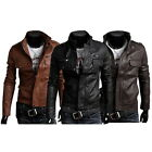New Fashion Men's PU Leather Jacket Biker Slim Fit Motorcycle Jacket Blazer Z