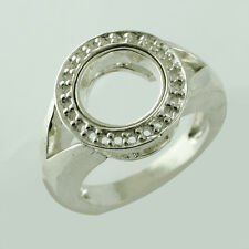 Round Shape Ring Semi Mount 9 MM 925 Sterling Silver Occasion Festival Jewelry