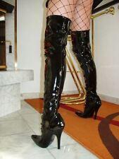 Lack Stiletto High Heels Stiefel Overknee Schwarz 42 Sexy Elegant