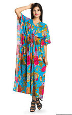 Floral Turquoise Kaftan Floral Women Boho Casual Gown Summer Robes Size 6X Tunic