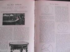 Billiards New Oval Table Public School Winter Sports Rare Antique Article 1908