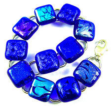 "DICHROIC Glass Link Bracelet Cobalt Blue Teal Dicro Fused Patterned .5"" X 7.5"""