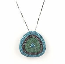 .925 Sterling Silver Womens CZ& Turquoise Evil Eye Pendant Necklace - US Seller