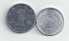 2 COINS from the PEOPLE'S REPUBLIC of CHINA - 1 FEN & 1 JIAO (ALL 2007)