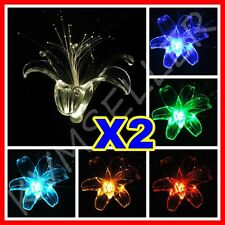 Set of 2 Solar Powered Lily Flower Garden Yard Stake Light LED Gift Sun Power i