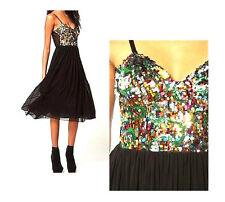 $125 MOTEL ROCKS Urban Outfitters WILD DRESS SHEER Blk LAyER SKiRT Sequin TOP L