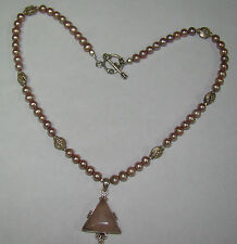 "Sterling Silver 17.5"" Pink Pearl Necklace w/ Stone Pendant, 31.71 Grams,  # N317"
