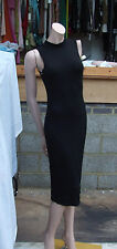 Exquisite Long Fine Knit Sleeveless Black Day Dress 10 Understated Elegance!