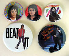 MICHAEL JACKSON 1980's Pinback Buttons Pins Badges 5 Different