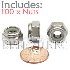 M8-1.25 / 8mm - Qty 100 - Nylon Insert Hex Lock Nut DIN 985 - A2 Stainless Steel