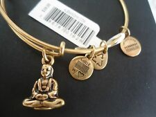 Authentic Alex and Ani BUDDHA Russian Gold Charm Bangle New W/ Tag Card & Box