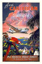 VINTAGE CARIBBEAN PAN AM TRAVEL A2 POSTER PRINT